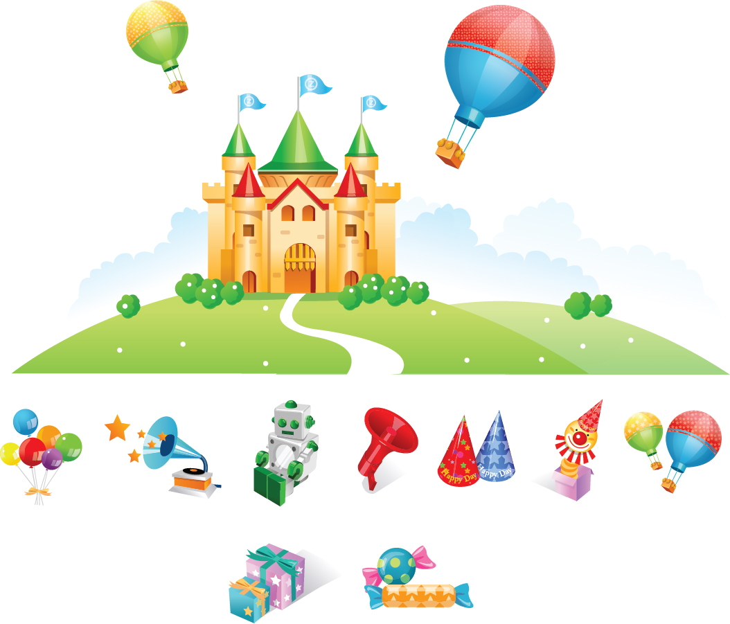 Free Vector がらくた素材庫 お城とオモチャ Vector Castle And Toys イラスト素材