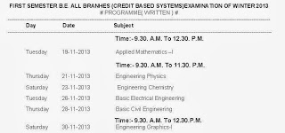 RTMNU 1st sem 2nd sem Engineering BE Time table CBS Winter 2013
