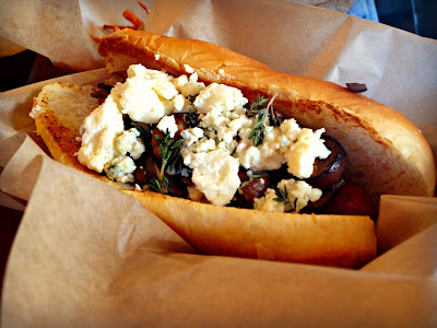 Le Bleu (bacon-wrapped dog with sauted mushrooms, blue cheese and thyme) from Urban Hotdog Company in Albuquerque, New Mexico