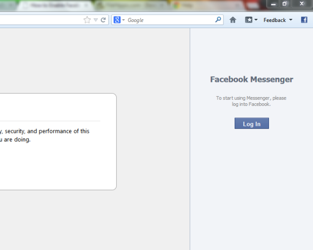 Log in to your facebook from Sidebar Screenshot: Intelligent computing