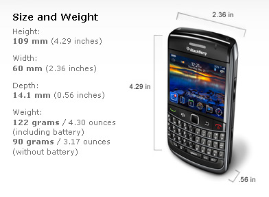 Specifications of BlackBerry Bold 9650