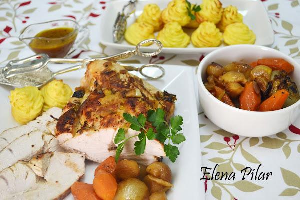 Pechuga de pavo al horno con patatas duquesa for Cocinar patatas al horno