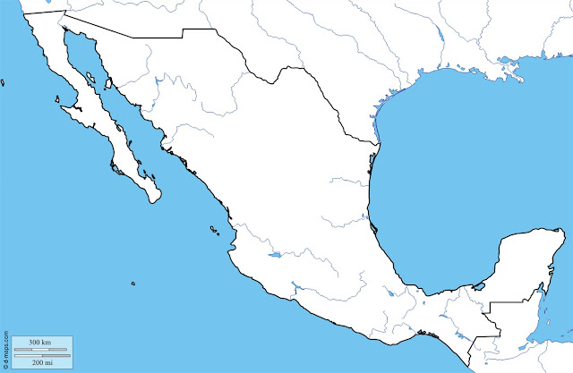 Outline Map for Mexico, Mexico Outline Map