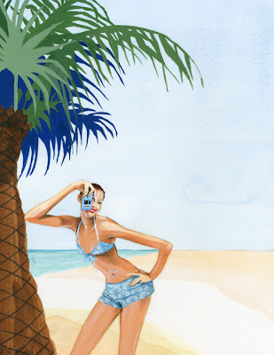 Illustration of a woman taking a photograph on a beach with a palm tree