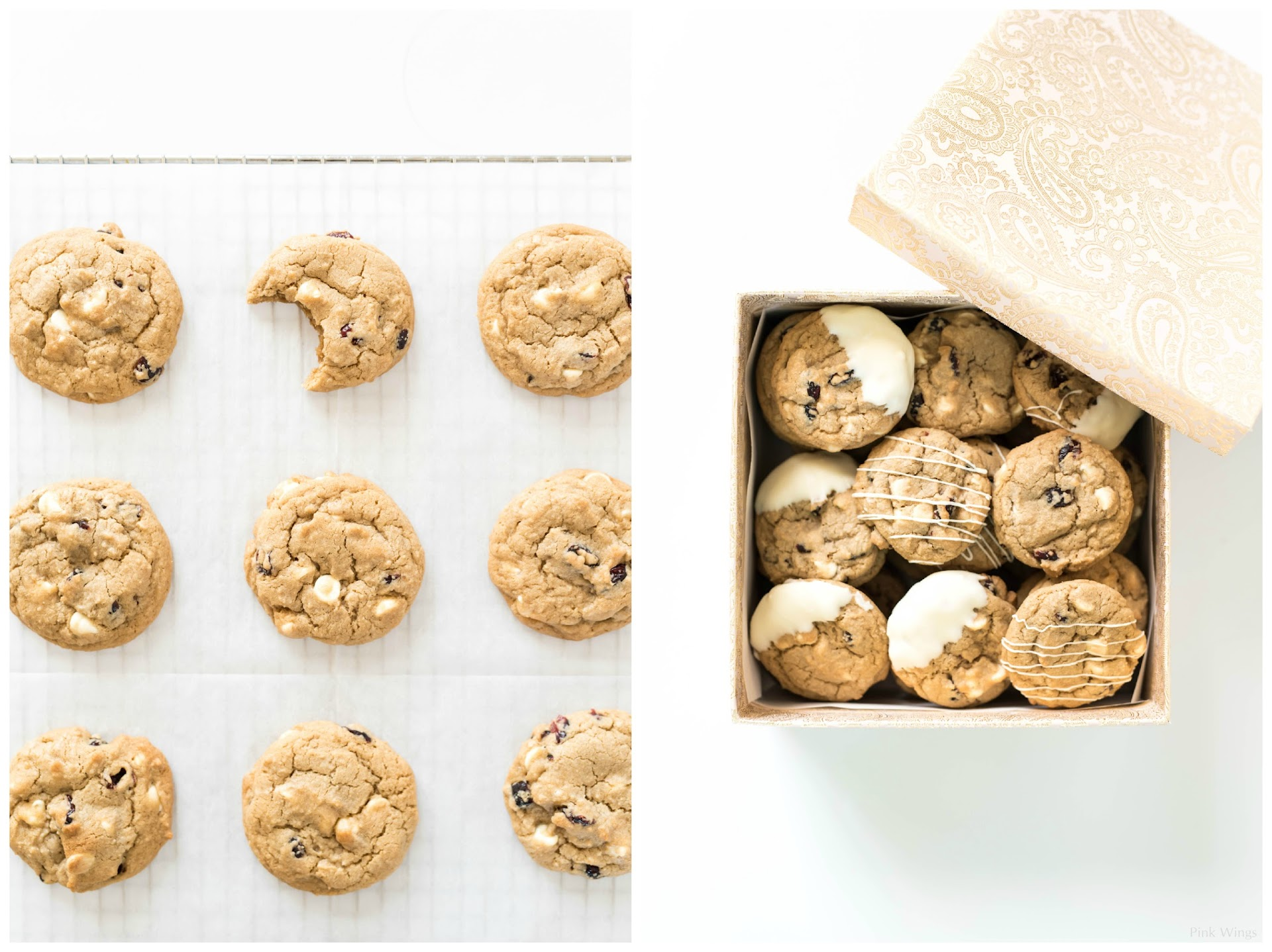 cookie gifts, holiday food gifts, cookie gift box, how to package cookies, dipped cookies, drizzled cookies, white chocolate recipe, christmas cookie recipe, easy cookie recipes, food photography, cookie photography, food blogger lds mormon, san francisco bay area, military