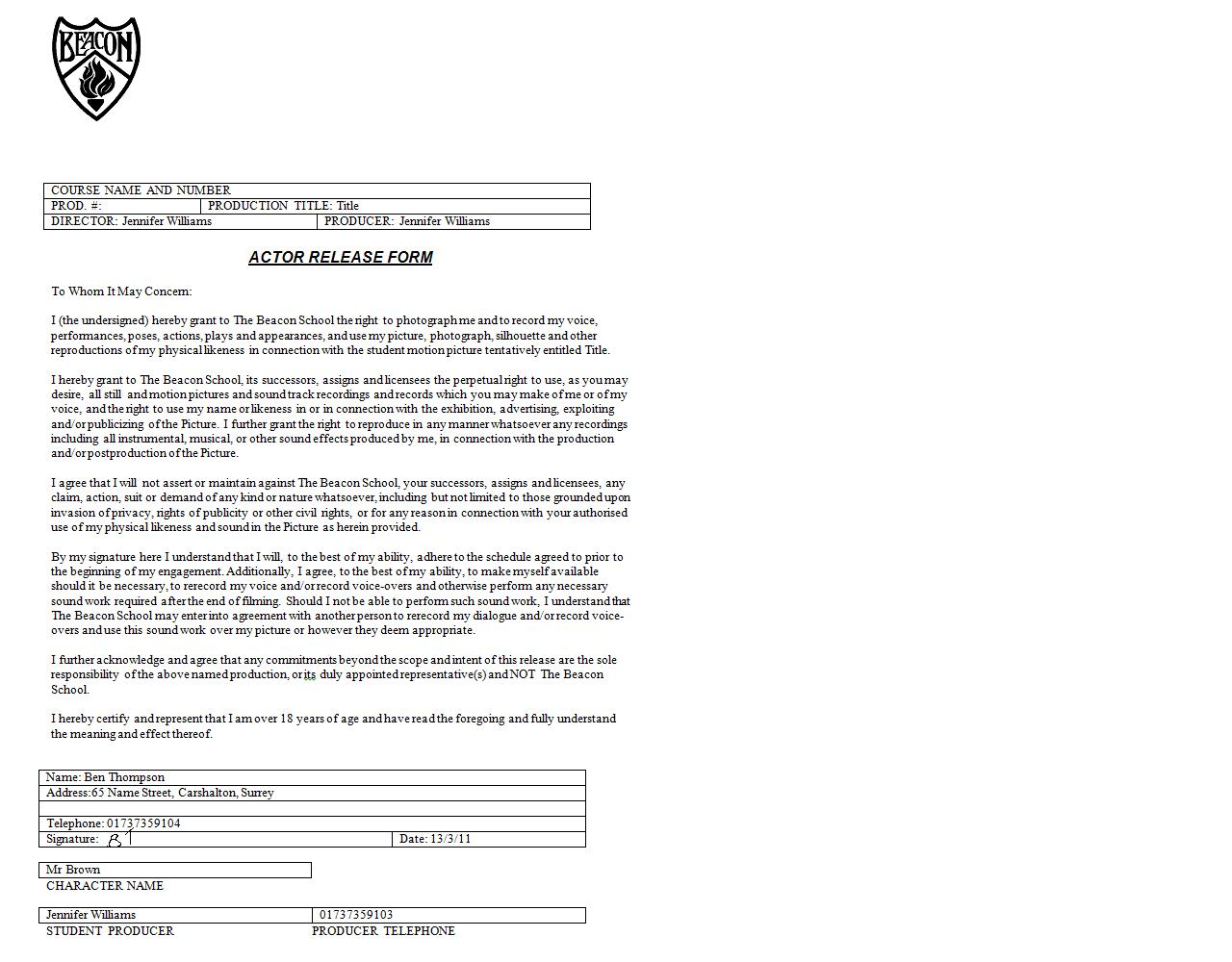 Sample Actor Release Forms U2013 9+ Free Documents In U2026