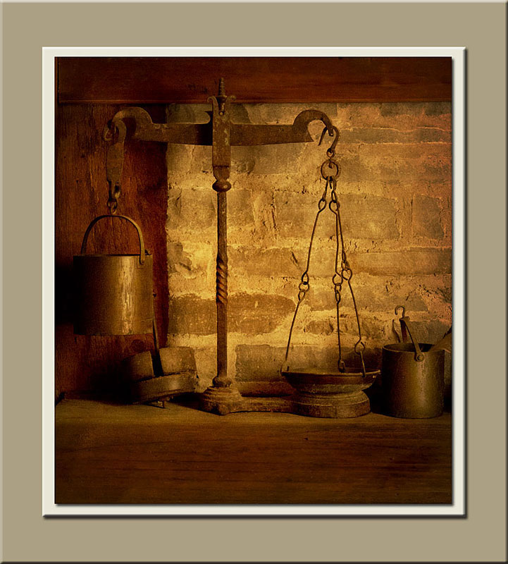A set of scale in the mill office of Roblin's Mill at Black Creek Pioneer Village.  Holly Cawfield Photography