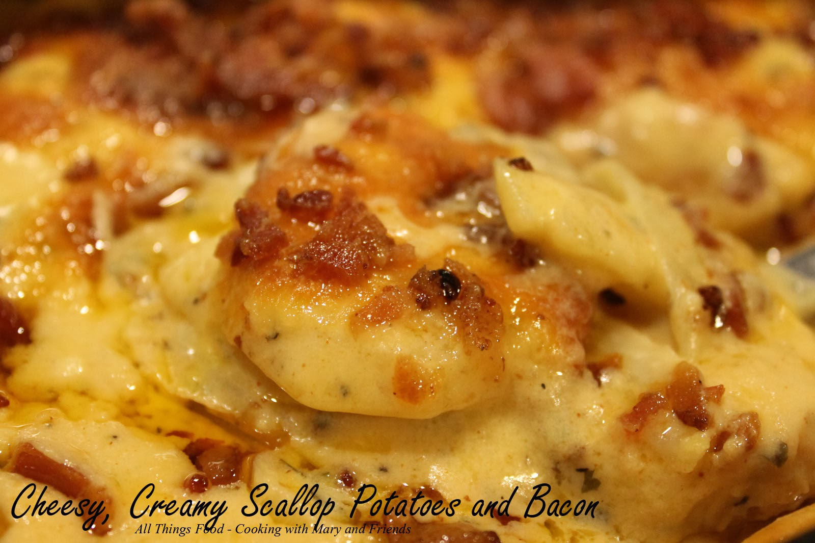 Cheesy, Creamy Scallop Potatoes with Bacon