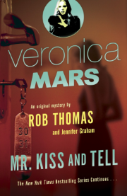 Cover art for Mr Kiss and Tell. The cover is predominantly red and features a blurry woman viewed through an open hotel room door.