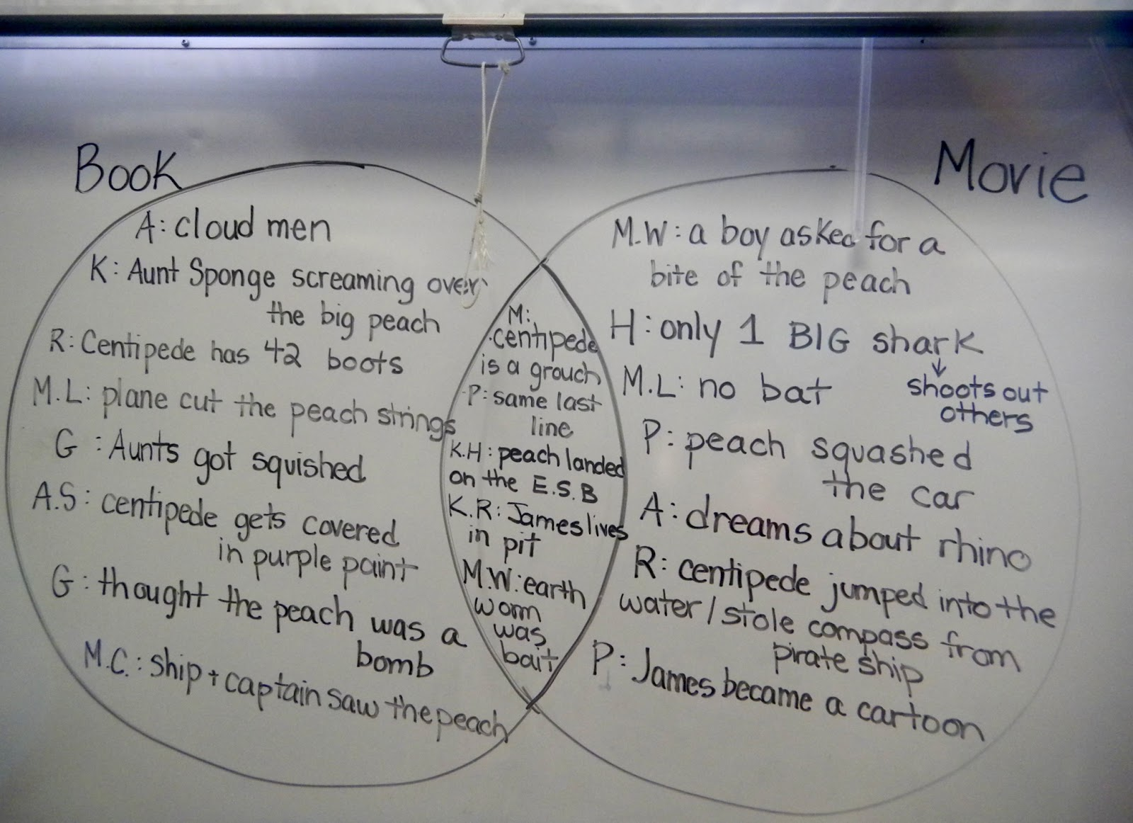 James and the giant peach our class blog many interesting things to say we made a venn diagram to jot down some of the most obvious differences and similarities between the book and the movie ccuart Choice Image