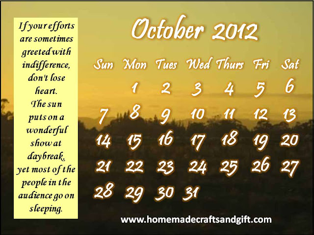 Free Homemade Printable Calendar October 2012 (Oct 2012)