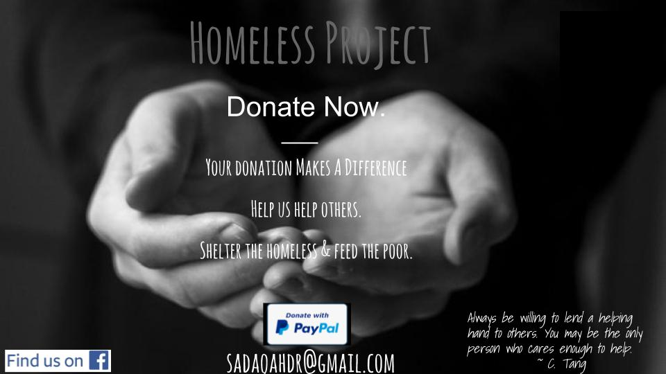 Donate To Our Homeless Project