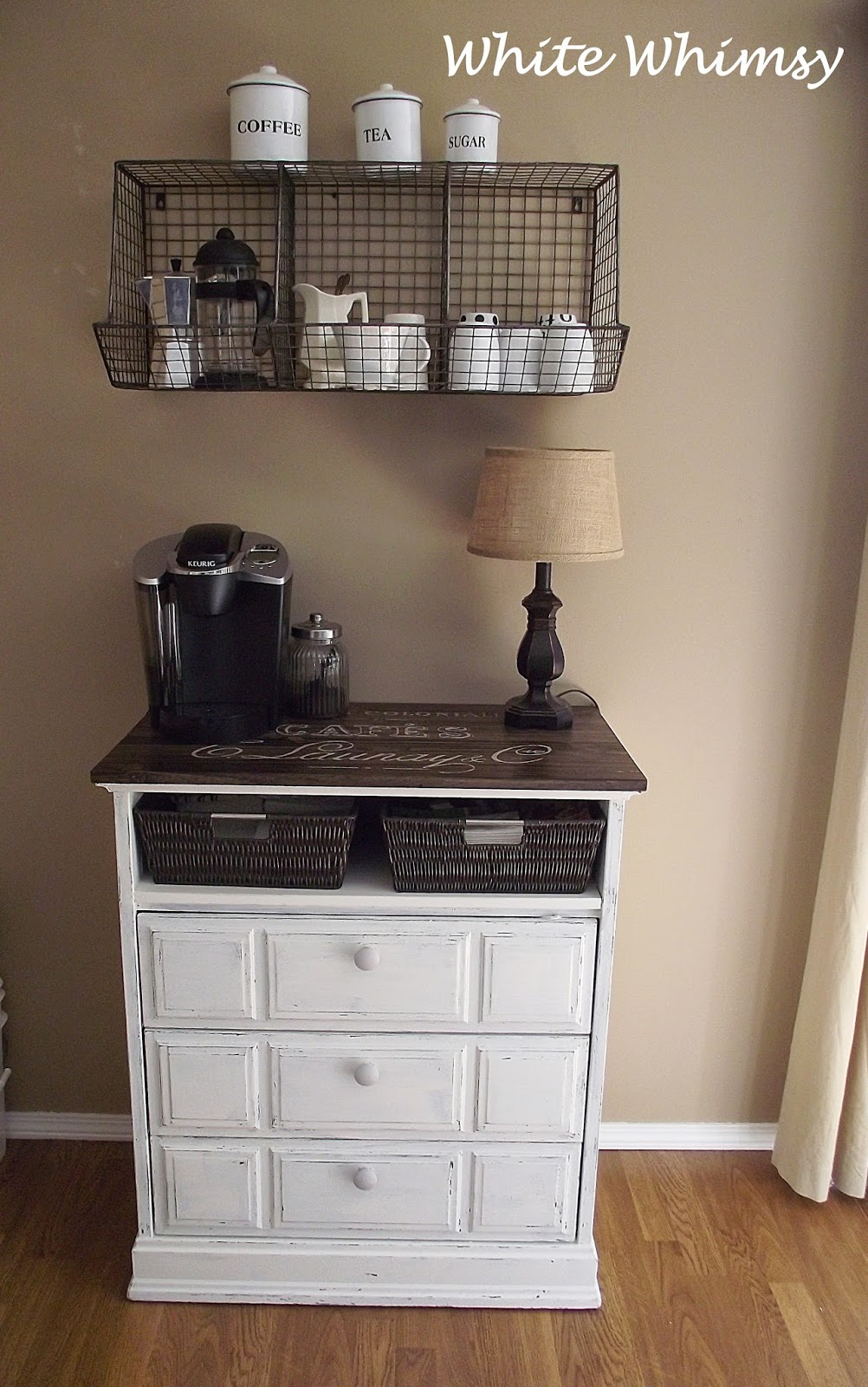 From My Front Porch To Yours- White Whimsy- DIY Coffee Bar