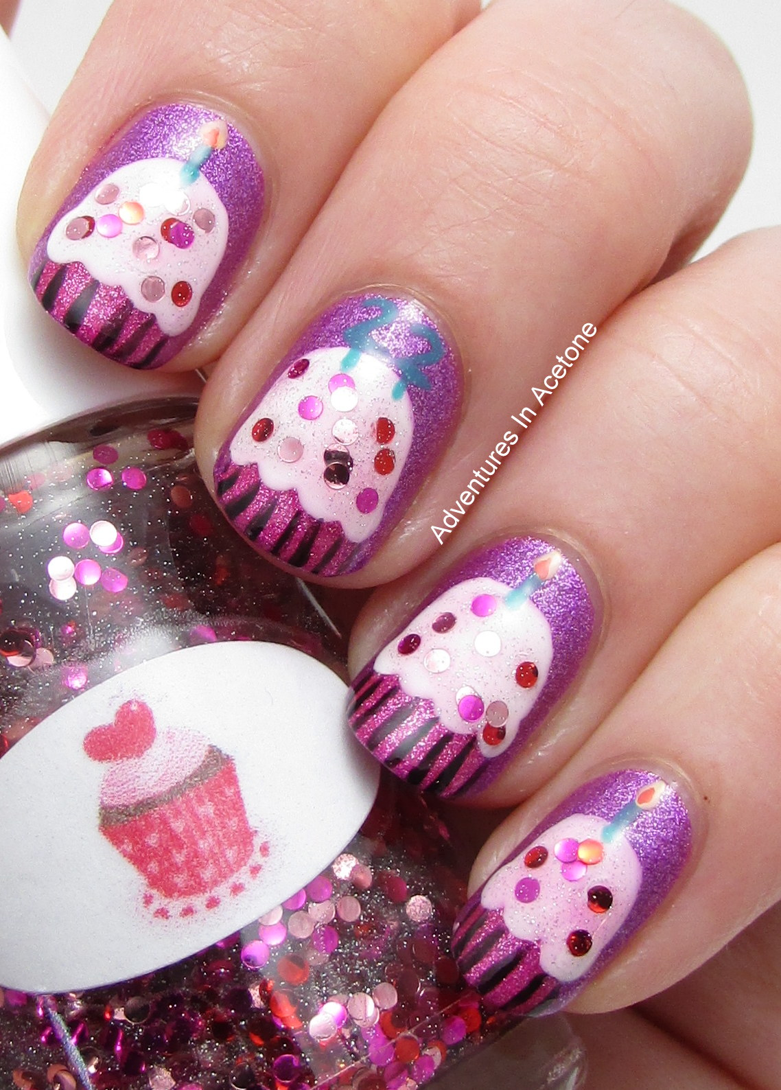 Happy Birthday, Caitlin! Cupcake Nail Art! - Adventures In Acetone
