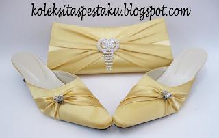 Sepaket Tas Pesta slop ready stock gold