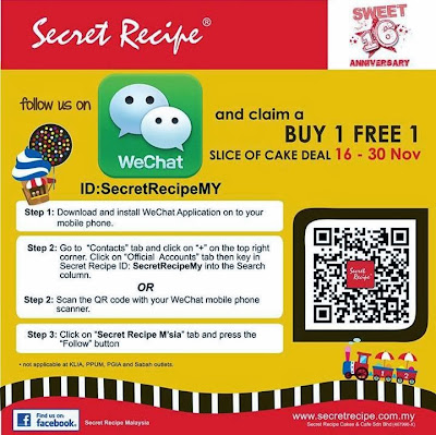 Secret Recipe Malaysia Joins WeChat, Secret Recipe Malaysia, WeChat Malaysia, Secret Recepi Sweet 16 Anniversary, Buy 1 Free 1 Slice Cake, sweet deals