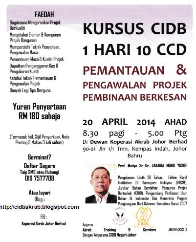 Kursus CIDB 1 Hari 10 CCD 20 April 2014 Pemantauan & Pengawalan Projek Pembinaan Berkesan