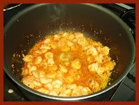 Preparando os camarões, uma cor ótima!