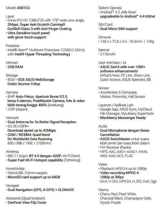 Spesifikasi ASUS ZenFone Smartphone Android Terbaik Zenfone 5