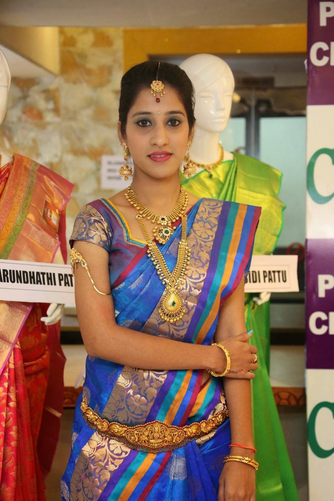 Actress Ayesha Latest Cute Hot Saree Navel Show Spicy Photos Gallery At CMR Vivaha Collection Launch