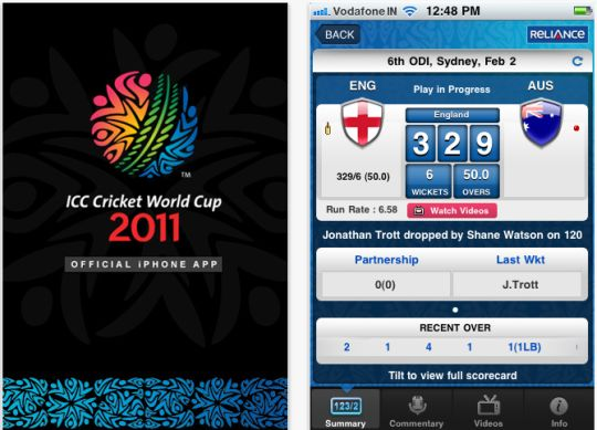 Official iPhone app for ICC Cricket World Cup 2011