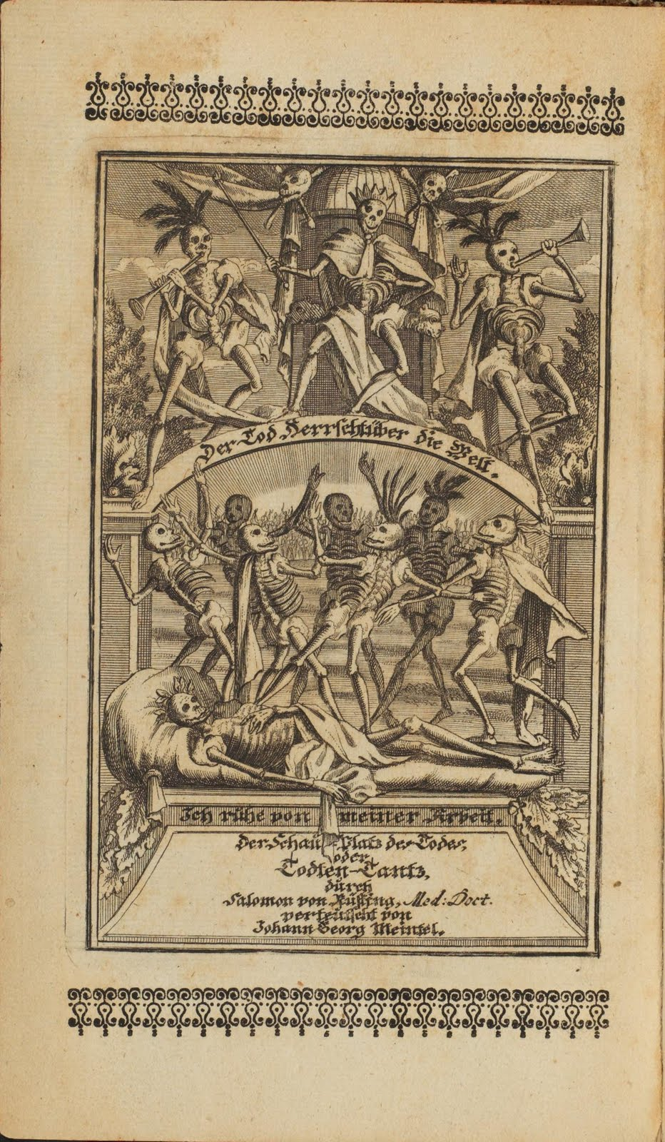 many dance of death skeletons celebrate, blowing horns and wearing headdresses