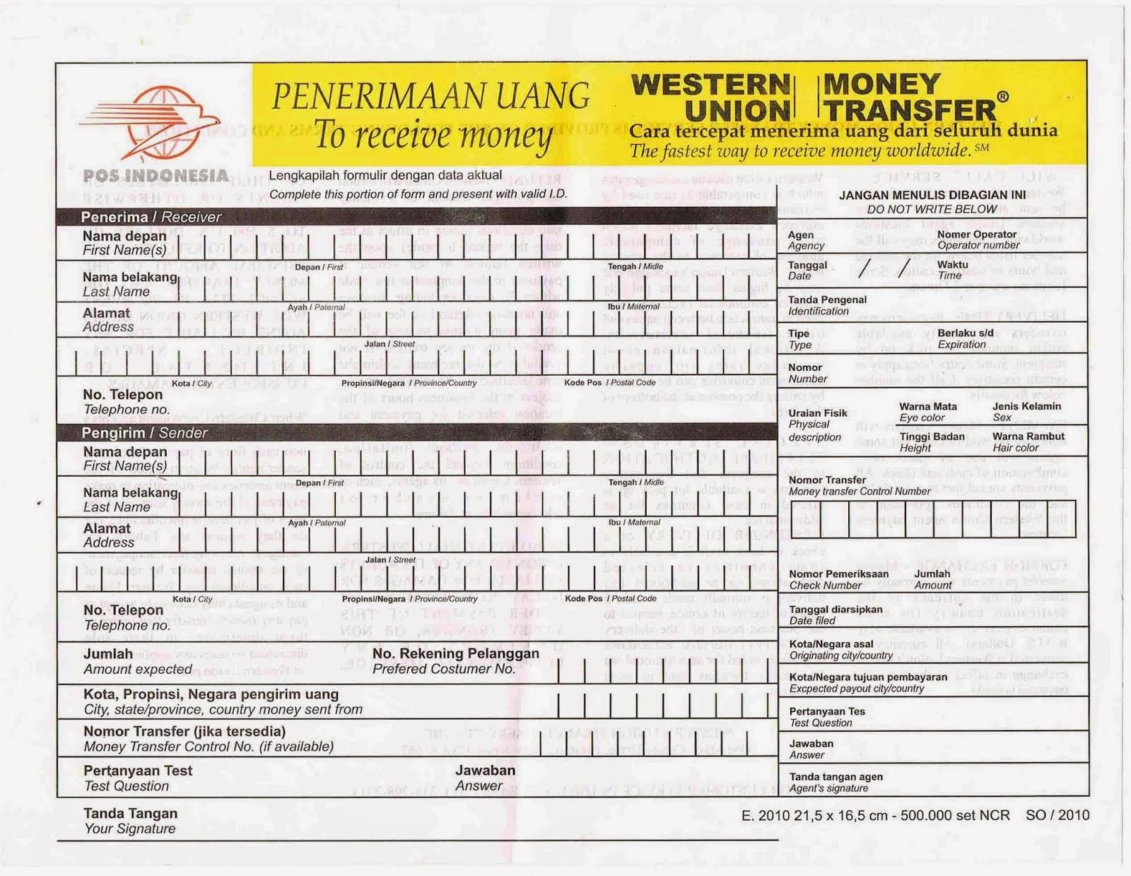 Blanko Form Western Union di Kantor Pos