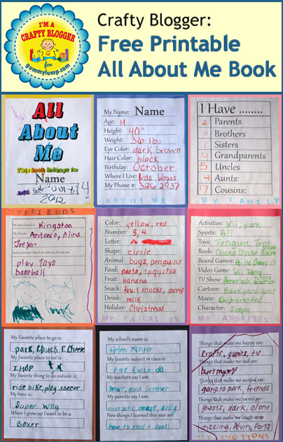 free printable All About Me Book from Gummy Lump