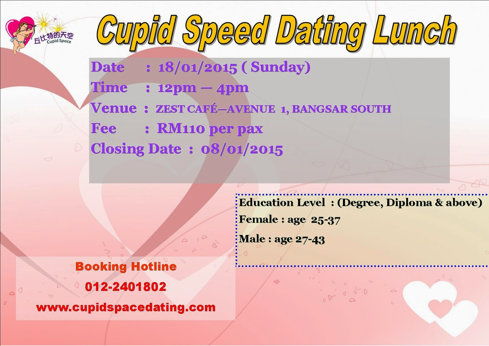 cupid space speed dating My chemical romance: the science of dating  when you're ready to let cupid's arrow fly,  speed dating and the rules of attraction.