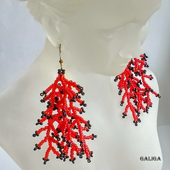 Red With Black Earrings-Coraling Beadwork Dangle Seed Bead Earrings