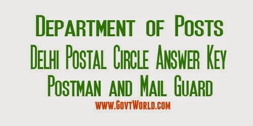 Delhi Postal Circle Answer Key 2017 Postman / Mail Guard
