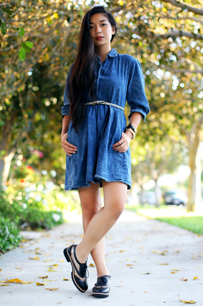 Stephanie Liu of Honey & Silk wearing Motel Tinkerbell dress, Lucky Brand belt, Messeca Max Oxford shoes, and La Mer Odyssey watch