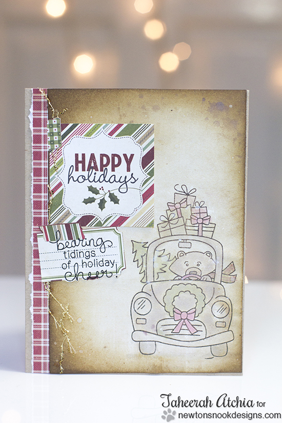 Bear in Car Christmas Card by Taheerah Atchia for Newton's Nook Designs - Winston's Home for Christmas Stamp set