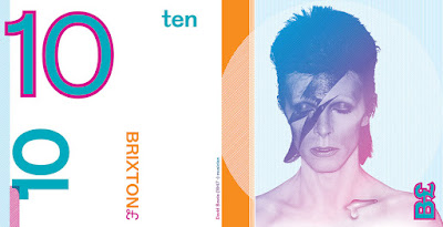 10 pound bill with image of David Bowie on it