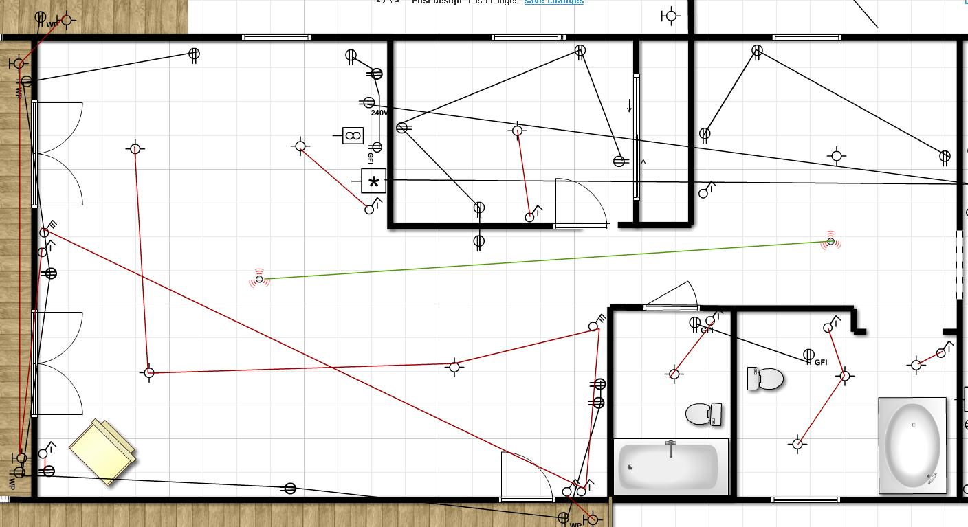 House renovation project plan - Outlets Switches And Light Plan Lake House Renovation Project Electrical Layout Plan Drafts