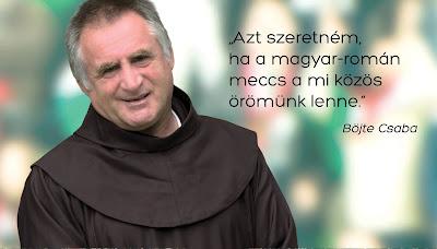 Böjte Csaba, eb-selejtező, futball, magyar-román mérkőzés, Magyarország, Románia,