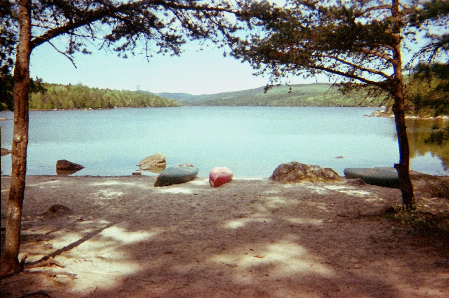 Campsite and Canoes on Debsconeag Lakes, Maine