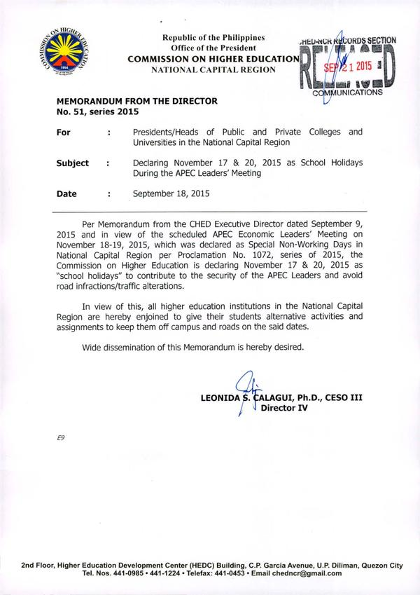 CHED announces suspension of classes on November 17-20 due to APEC