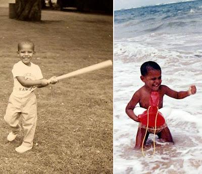 Obama de niño en la playa y jugando baseball