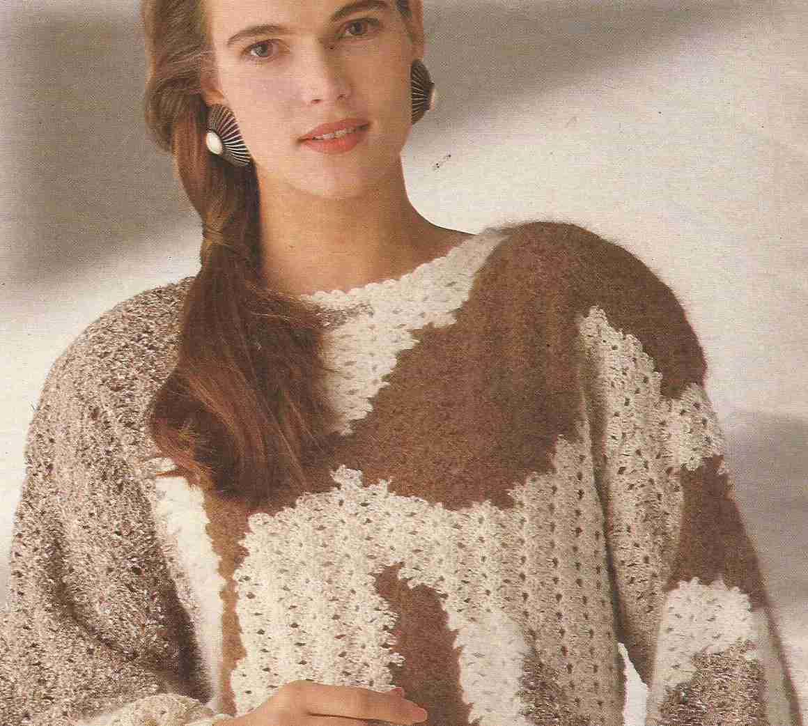 Jersey en mezcla de materias a Crochet