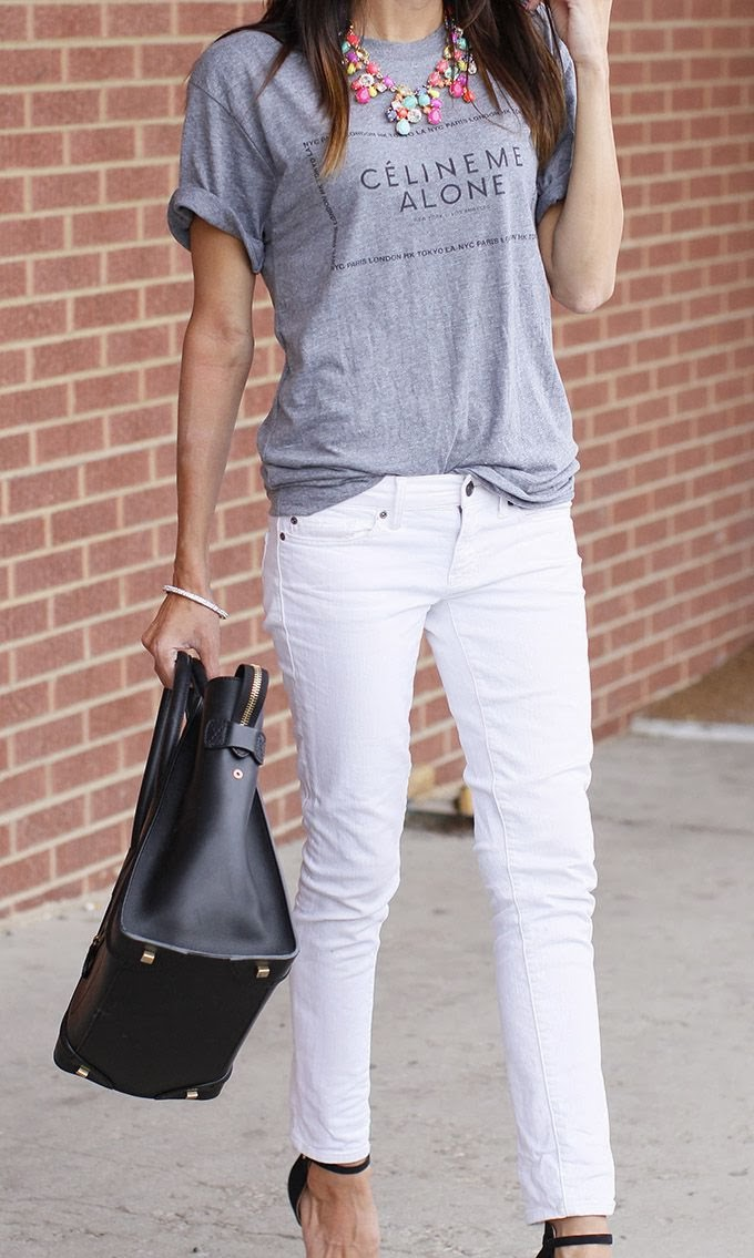 Love a menswear casual tee with everything else girly