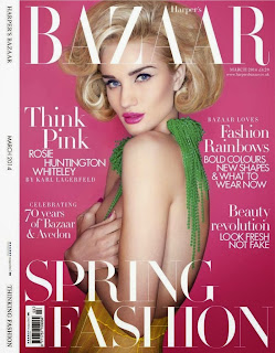 Rosie Huntington Whiteley Harper's Bazaar UK Magazine Cover March 2014 HQ Scans