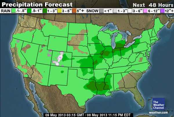 The Precipitation Map Shows Us That We Have Will Be Getting Rain But Not To Too Too Much
