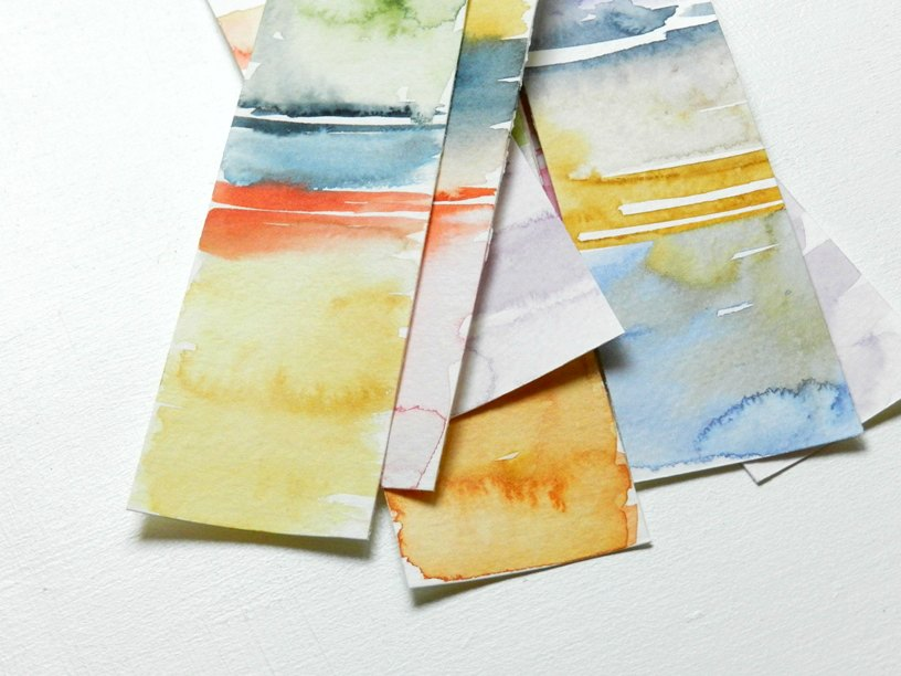 Color Block Watercolor Bookmarks: grow creative