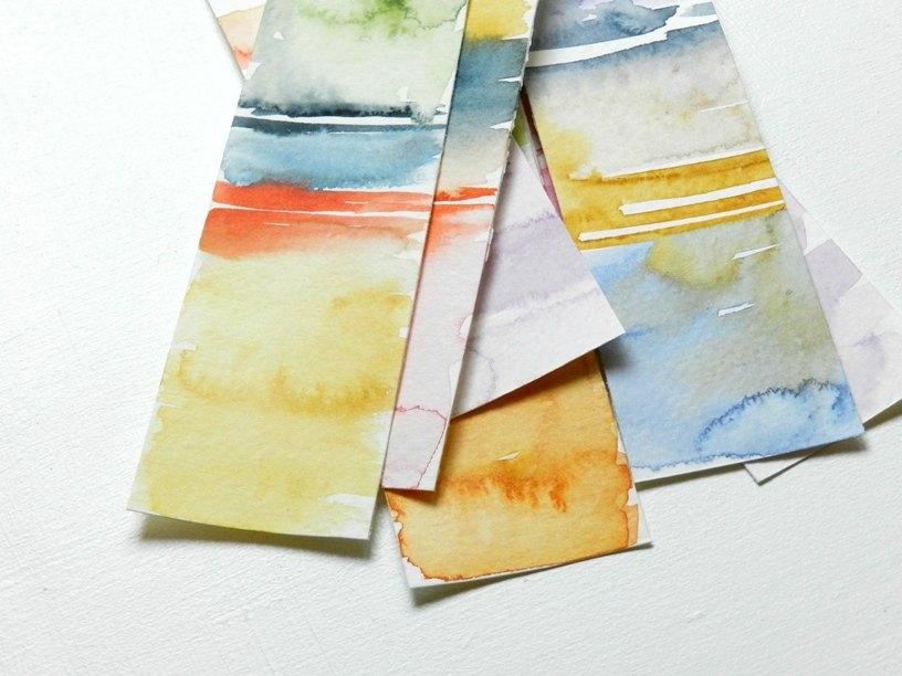 Color Block Watercolor Bookmarks: grow creative