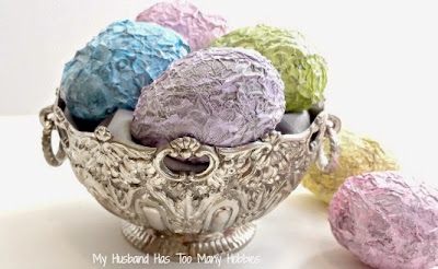 shabby Easter eggs from aluminium foil and paint