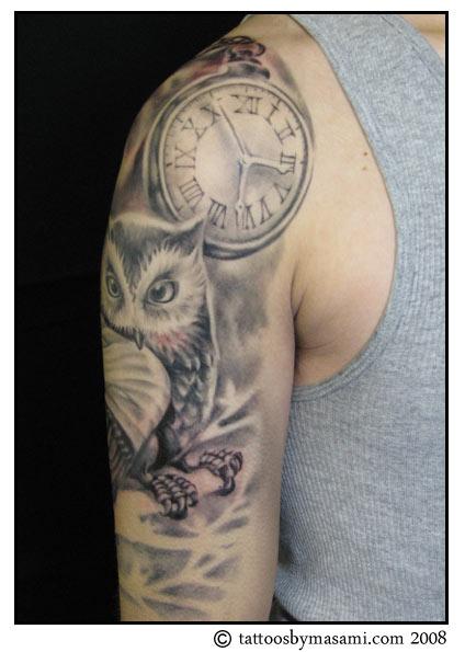 Brainsy heart upper arm owl tattoo for Owl forearm tattoo