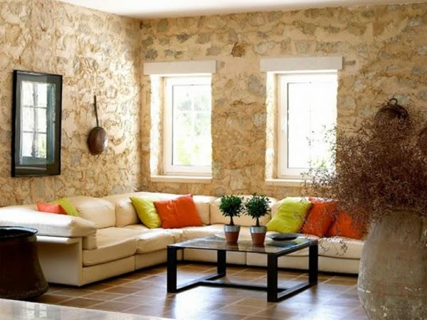 Salas con paredes de piedra natural salas con estilo - Piedra de decoracion ...