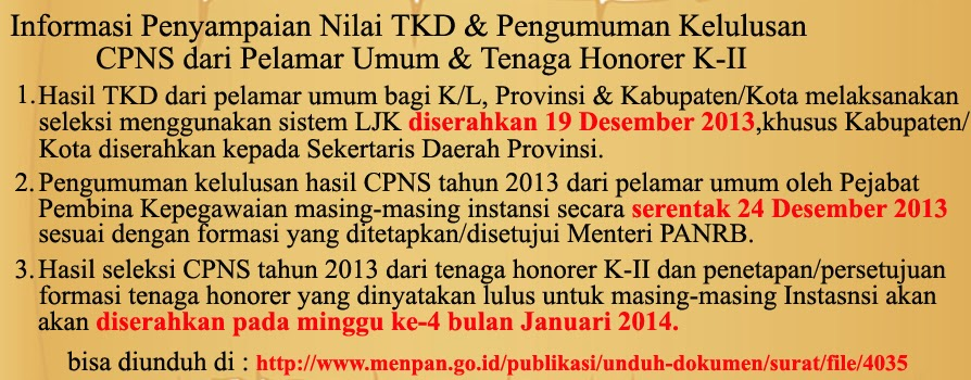 more at: http://askep-net.blogspot.com/2013/12/Pengumuman-Hasil-CPNS
