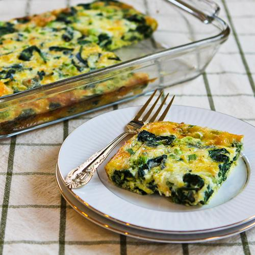 Spinach and Mozzarella Egg Bake .